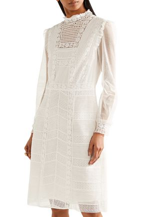 BURBERRY Tulle and cotton-blend lace dress