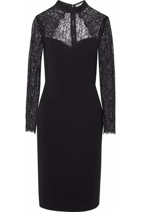 ALICE+OLIVIA Cutout lace-paneled crepe dress