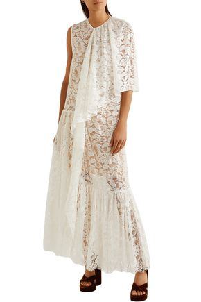 STELLA McCARTNEY Elen draped cotton-blend lace gown