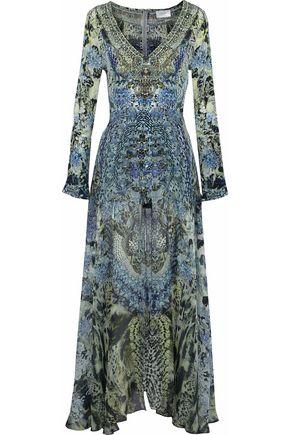 CAMILLA Hush Hush layered embellished floral-print silk playsuit