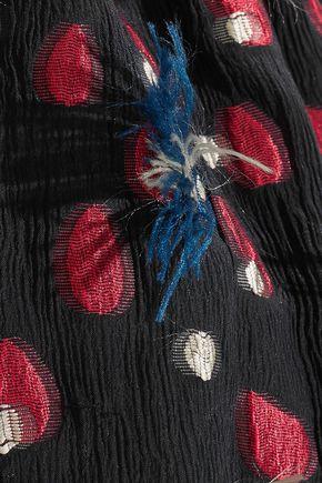 CHLOÉ One-shoulder fil coupé silk-georgette blouse