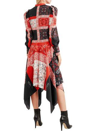 ALEXANDER MCQUEEN Asymmetric printed silk midi dress