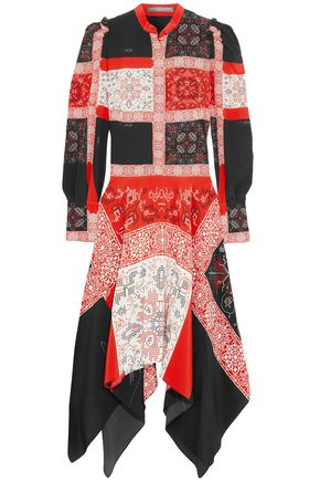 ALEXANDER MCQUEEN Asymmetric printed silk midi dress