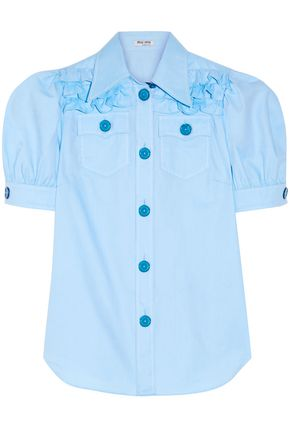 MIU MIU Ruffled cotton Oxford shirt