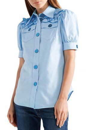 MIU MIU Ruffled cotton Oxford shirt
