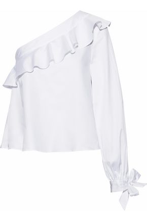 NICHOLAS One-shoulder ruffle-trimmed cotton-poplin top