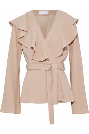 CO Ruffled crepe de chine wrap top