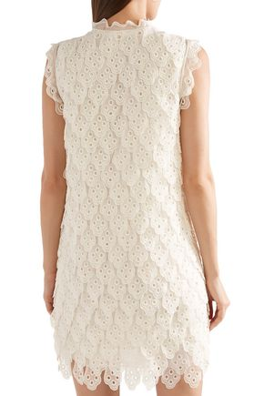 CHLOÉ Bow-embellished broderie anglaise silk-organza mini dress