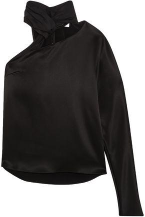 LANVIN One-shoulder cutout satin top