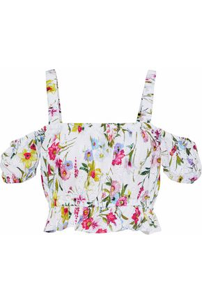 NICHOLAS Rosie cold-shoulder floral-print broderie anglaise cotton top