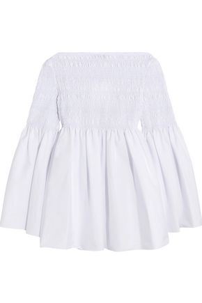 THE ROW Burton smocked cotton-blend poplin top