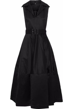 CO Belted cotton-sateen midi dress