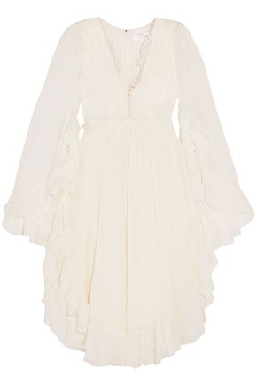 CHLOÉ Lace-appliquéd ruffled cotton and silk-blend seersucker dress