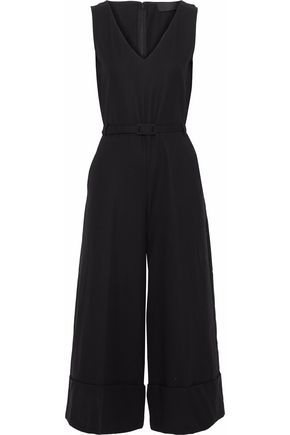 CO Cropped belted cotton-poplin jumpsuit