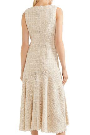 ALEXANDER MCQUEEN Asymmetric metallic bouclé-tweed midi dress