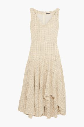 ALEXANDER MCQUEEN Asymmetric metallic bouclé-tweed midi dress