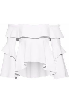 Off The Shoulder Ruffled Crepe Blouse by Nicholas
