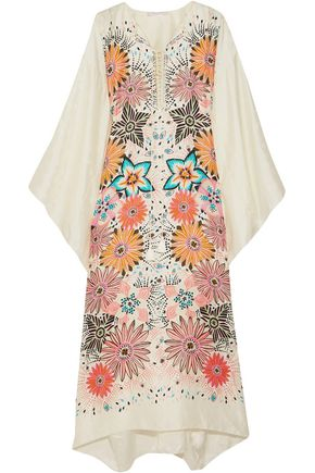CHLOÉ Lace-up floral-print guipure lace-trimmed silk midi dress