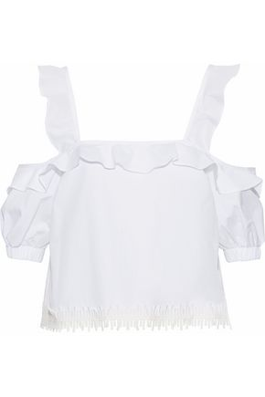 NICHOLAS Cold-shoulder ruffle-trimmed cotton-poplin top
