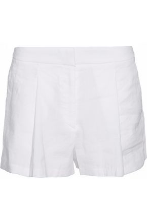 THEORY Pleated linen-blend shorts