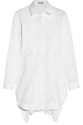 ALAÏA Laser-cut cotton-blend poplin shirt