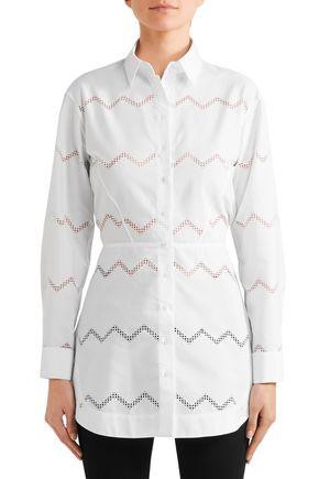 ALAÏA Laser-cut cotton-blend poplin shirt