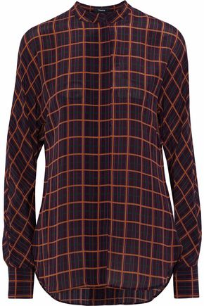 THEORY Printed silk crepe de chine shirt