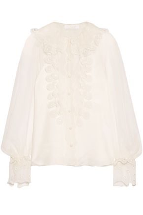 CHLOÉ Broderie anglaise-trimmed silk-organza blouse