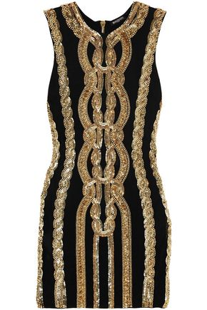 BALMAIN Embellished stretch-jersey mini dress