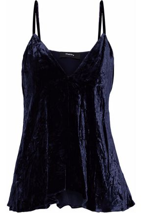 THEORY Kensington draped crinkled-velvet camisole