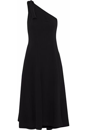 THEORY One-shoulder knotted crepe dress