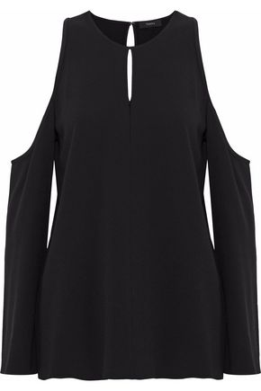 THEORY Cold-shoulder crepe top