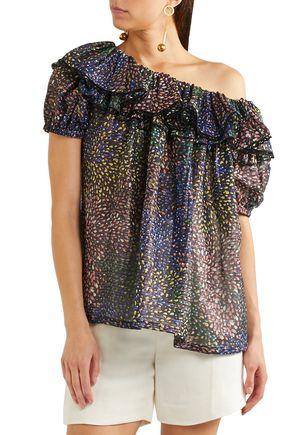 CHLOÉ One-shoulder ruffled metallic printed cotton-blend blouse
