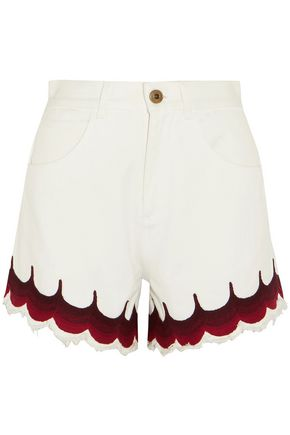 CHLOÉ Scalloped embroidered denim shorts
