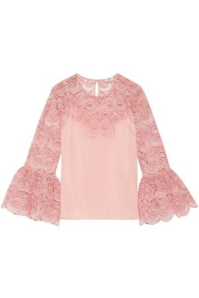 FENDI Appliquéd cotton-blend broderie anglaise and organza top