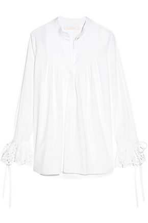 CHLOÉ Broderie anglaise-trimmed cotton-poplin blouse
