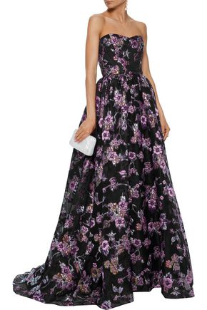 REEM ACRA Strapless flared brocade gown