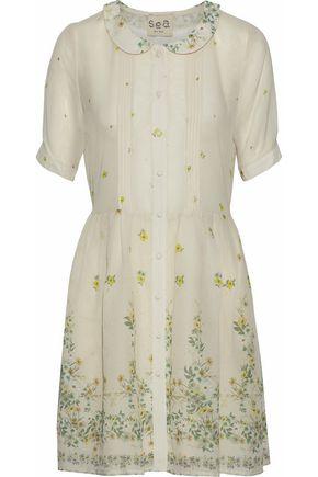 SEA Floral-print cotton and silk-blend gauze mini dress
