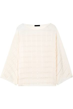THE ROW Bela pleated crepe de chine top