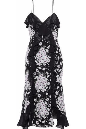 CINQ À SEPT Joelle ruffle-trimmed floral-print silk-chiffon dress