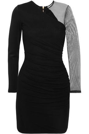 BALMAIN Tulle-paneled stretch-knit mini dress