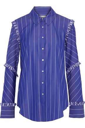 CINQ À SEPT Ruffle-trimmed striped cotton-poplin shirt