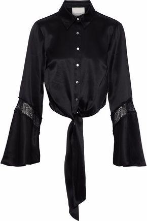 CINQ À SEPT Genevieve tie-front lace-trimmed silk-satin shirt