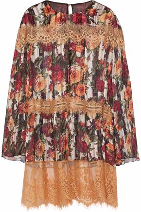 ANNA SUI Lace-trimmed floral-print chiffon tunic