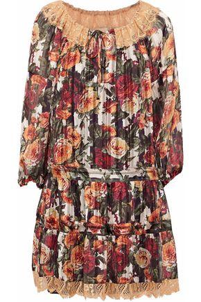 ANNA SUI Lace-trimmed floral-print chiffon mini dress