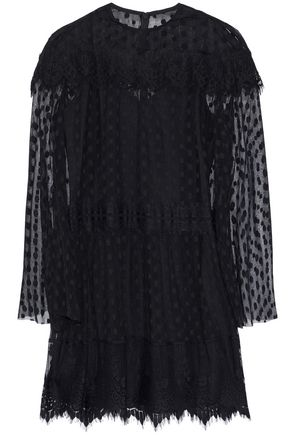 ANNA SUI Layered lace-trimmed point d'esprit mini dress