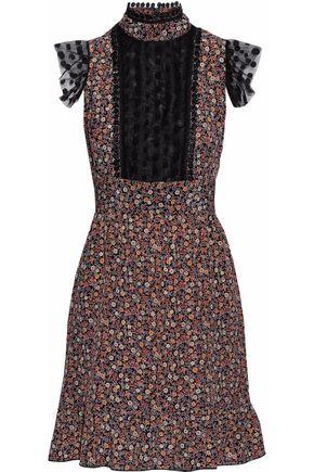 ANNA SUI Point d'esprit-trimmed floral-print crepe de chine mini dress