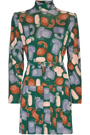 MIU MIU Printed pleated crepe mini dress