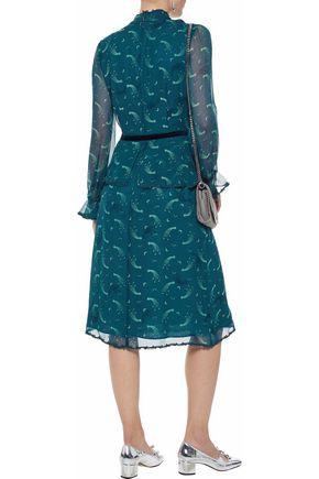 ANNA SUI Guipure lace-trimmed printed silk-chiffon peplum dress