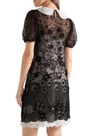 CHLOÉ Layered embroidered silk-chiffon mini dress